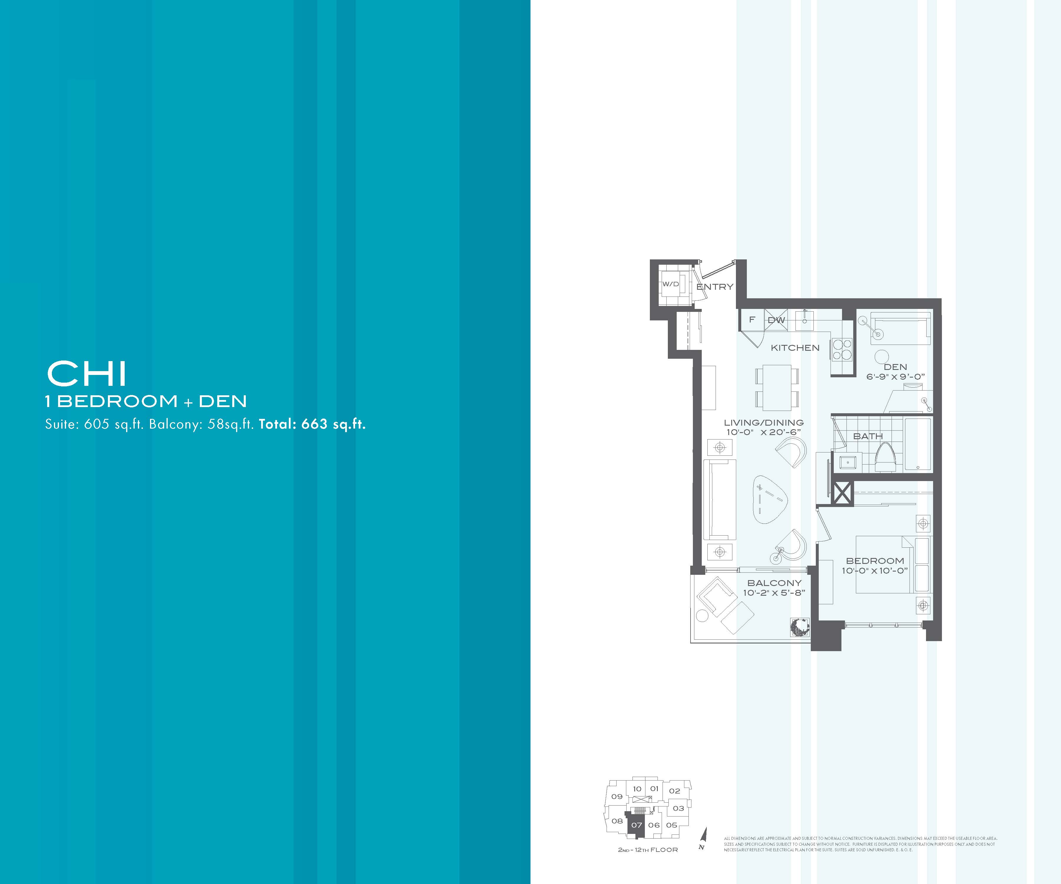 Flo condos 1 bedroom den chi floor plan for 1 bedroom condo floor plans